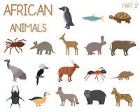 Sistema africano de los animales de iconos en estilo plano, fauna africana, el ganso enano, el buitre africano, el búfalo, dorkas stock de ilustración