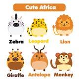 Sistema africano lindo de la fauna de los animales Los niños diseñan, los elementos aislados del diseño, ejemplo del vector Foto de archivo libre de regalías