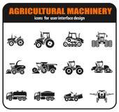 Sistema agrícola de los iconos de los vehículos ilustración del vector