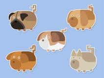 Sistema agradable del vector de las etiquetas engomadas de los perros Fotos de archivo libres de regalías