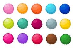 Sistema aislado bolas mullidas coloridas del vector de la piel del pompom Fotos de archivo