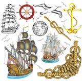 Sistema aislado con los elementos del mar ilustración del vector