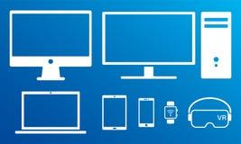 Sistema aislado iconos blancos digitales modernos de las pantallas libre illustration