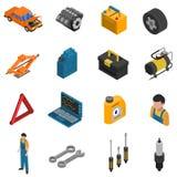 Sistema aislado isométrico del icono del servicio del coche Fotografía de archivo libre de regalías