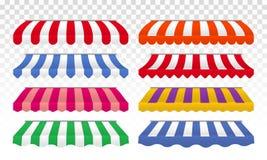 Sistema aislado rayas del color del vector de las tiendas del toldo libre illustration