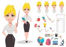 Sistema alegre de la creación del carácter del profesor de sexo femenino libre illustration