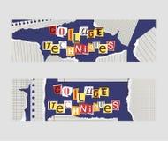 Sistema alfabético del collage del ejemplo del vector de las banderas Palabras cortadas por las tijeras del papel colorido Pedazo libre illustration