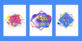 Sistema alfabético del collage del ejemplo del vector de las tarjetas Palabras cortadas por las tijeras del papel colorido No par libre illustration