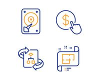 Sistema algoritmo, moneda de la compra y de los iconos técnicos de Hdd Muestra del plan arquitectónico Vector libre illustration