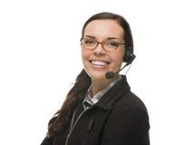 Sistema amistoso de Wearing Phone Head del recepcionista de la raza mixta Imagen de archivo libre de regalías
