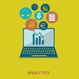Sistema analítico del icono de los datos Fotografía de archivo