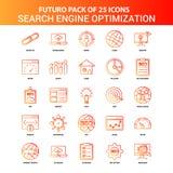 Sistema anaranjado del icono de la optimización del Search Engine de Futuro 25 libre illustration