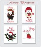 Sistema animal de la tarjeta de Navidad Fotos de archivo libres de regalías