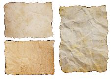 Sistema antiguo de los papeles del viejo grunge del vintage aislado en el fondo blanco imagenes de archivo