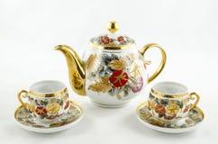 Sistema antiguo del té y de café de la porcelana Fotos de archivo libres de regalías