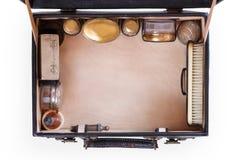Sistema antiguo en caso abierto, visión superior del viaje con el espacio de la copia Fotos de archivo libres de regalías