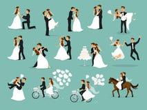 Sistema apenas casado, de los recienes casados, de novia y del novio ilustración del vector