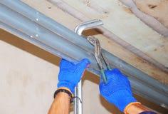 Sistema apri della porta del garage della casa di riparazione dell'appaltatore di onstruction del ¡ di Ð fotografie stock