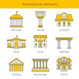 Sistema arquitectónico del icono de los elementos libre illustration
