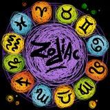 Sistema astrológico del icono del vector Fotografía de archivo libre de regalías