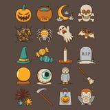 Sistema asustadizo del icono de Halloween del día de fiesta Fotos de archivo libres de regalías
