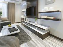 Sistema audio con la TV y estantes en el contemporáneo de la sala de estar foto de archivo