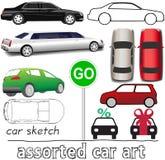 Sistema auto del transporte de los símbolos del coche Fotografía de archivo