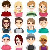 Sistema Avatar del adolescente stock de ilustración