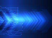 Sistema azul abstracto de la tecnología de la ingeniería, placa de circuito y flecha futurista Fondo del vector ilustración del vector