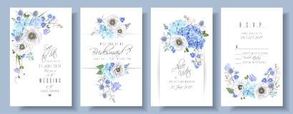 Sistema azul de la boda de la anémona ilustración del vector