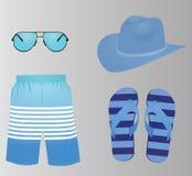 Sistema azul de la moda del verano stock de ilustración