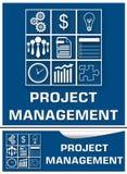Sistema azul del blanco de la gestión del proyecto Fotos de archivo libres de regalías