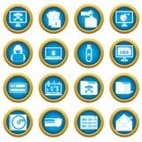 Sistema azul del círculo de los iconos de la actividad criminal stock de ilustración