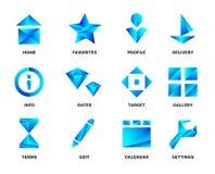 Sistema azul del icono de la pendiente aislado Ilustración del vector Foto de archivo