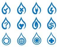 Sistema azul del icono del símbolo del descenso del agua del vector Foto de archivo libre de regalías
