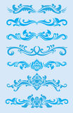 Sistema azul del ornamento Fotos de archivo libres de regalías