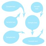 Sistema azul del vector de las burbujas del discurso Imagen de archivo