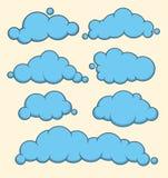 Sistema azul del vector de las nubes Imágenes de archivo libres de regalías