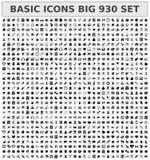 Sistema básico de los iconos 930 ilustración del vector