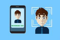 Sistema biometrico del fronte dell'utente di ricerca dello Smart Phone di protezione di controllo, concetto facciale di esame di  illustrazione vettoriale