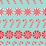 Sistema blanco de la Navidad y rojo redondo del dulce Caramelo Cane Seamless Pattern Decoration Papel de embalaje, plantilla de l Fotografía de archivo libre de regalías