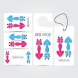 Sistema blanco de la plantilla de la identidad corporativa del salón de la tienda del sexo XXX Foto de archivo libre de regalías