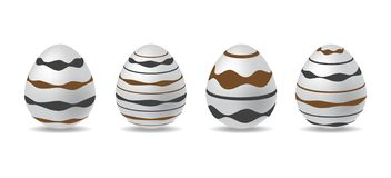sistema blanco del huevo de 3d Pascua huevos de Pascua con negro y el modelo del chocolate elemento del día de pascua Diseño de D ilustración del vector