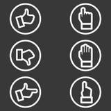 Sistema blanco del icono de la mano Fotografía de archivo libre de regalías