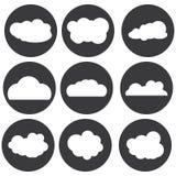 Sistema blanco del icono de la nube del vector Foto de archivo