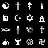 Sistema blanco del icono de la religión del vector Fotografía de archivo