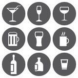 Sistema blanco del icono de las bebidas del vector Imagen de archivo libre de regalías