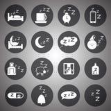 Sistema blanco del icono el dormir del vector Fotos de archivo libres de regalías