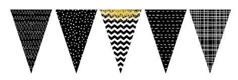 Sistema blanco y negro de la bandera de la bandera Party la decoración Hágalo usted mismo ilustración del vector