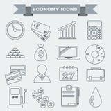 Sistema blanco y negro del icono de la economía Fotos de archivo libres de regalías